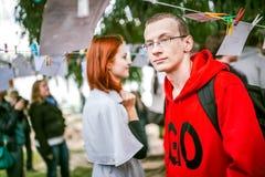 Omsk, Russie - 21 mai 2014 : Photographie de festival sur la rue Photos libres de droits