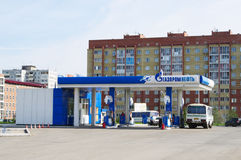 OMSK, RUSSIE - 26 MAI 2015 : Station-service 'Gazpromneft' Images stock