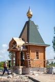 Omsk, Russland - 5. Juli 2014: Gebäude von wodden Kapelle lizenzfreies stockfoto