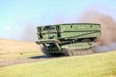 Omsk Ryssland - Juli 07, 2011: internationell militär utställning Arkivfoto