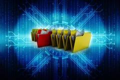 omslag De open omslag met 3d documenten geeft terug Stock Afbeelding