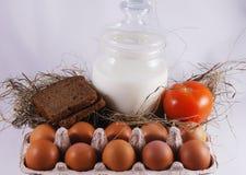 Omslag met verse eieren Stock Fotografie