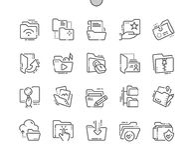 Omslagen goed-Bewerkte Pictogrammen 30 van de Pixel Perfecte Vector Dunne Lijn 2x Net voor Webgrafiek en Apps Stock Foto's