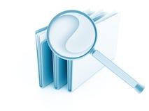 Omslagen met documenten onder meer magnifier royalty-vrije stock afbeeldingen