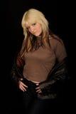 omslagsläderkvinna Arkivfoto