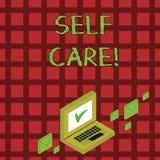 Omsorg f?r handskrifttextsj?lv Begrepp som betyder övning av att ta handling att bevara eller förbättra egen vård- färgpost vektor illustrationer
