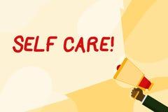 Omsorg f?r sj?lv f?r textteckenvisning Begreppsmässig fotoövning av att ta handling att bevara eller förbättra egen vård- hand stock illustrationer