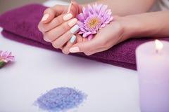 omsorgsbomullsfingernailen spikar att ta bort swabfernissa Closeupen av härliga kvinnahänder med naturligt spikar i skönhetsalong royaltyfri bild