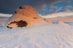 Omu peak,Bucegi mountains,Carpathians,Romania. Beautiful sunset in the Bucegi mountains,Carpathians,Romania Stock Photo