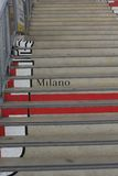 Omune di Milano logo painted on the stairs Royalty Free Stock Photo