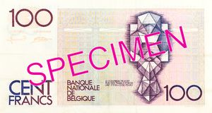 omvänd anmärkning för belgisk franc 100 arkivbild
