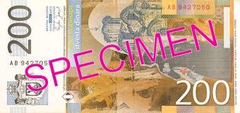 omvänd dinaranmärkning för 200 serb royaltyfri bild
