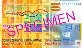 10 omvänd schweizisk franc anmärkning royaltyfria foton