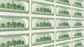 Omvänd sida av 100 perspektivet för dollarräkningar 3d Arkivfoto