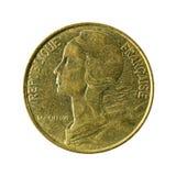 20 omvänt franskt centimes mynt 1996 royaltyfria bilder