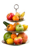 Omväxlande frukt i vas Royaltyfri Bild