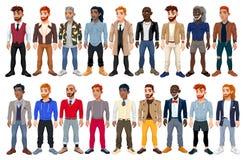 Omväxlande manlig modeavatar stock illustrationer