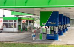 The OMV gas station with MaxxMotion fuels and shop for customers