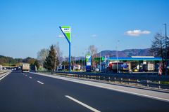 OMV highway petrol and rest station Lopata near Celje, Slovenia. Highway A1 near Celje, Slovenia - 8 April 2018: OMV`s highway petrol and rest station Lopata Royalty Free Stock Image