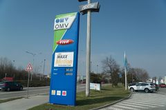 OMV petrol filling station. Nitra, Slovakia, march 28, 2018: OMV petrol filling station. OMV was founded in 1956 and is the largest oil industry company in royalty free stock images
