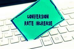 Omvandling Rate Increase för ordhandstiltext Affärsidé för förhållande av sammanlagda besökare som utför önskade handlingar arkivbilder