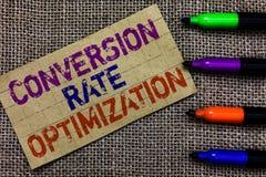 Omvandling Rate Optimization för handskrifttexthandstil Menande system för begrepp för ökande procentsats av besökarePaperboardco royaltyfri foto