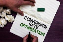 Omvandling Rate Optimization för textteckenvisning Det begreppsmässiga fotosystemet för ökande procentsats av besökare Man hållan arkivbild