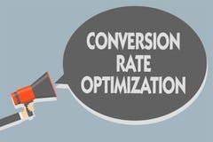 Omvandling Rate Optimization för textteckenvisning Det begreppsmässiga fotosystemet för ökande procentsats av besökare Man hållan royaltyfri bild