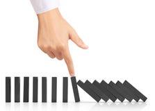 Omvergeworpen de domino's ononderbroken van het handeinde Stock Foto