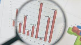 Omwenteling van de rode grafiek Close-up met een vergrootglas stock footage