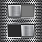 On And Off Square Slider Buttons. Metal Switch Interface Buttons On Perforated Background Stock Photo