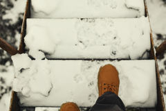 Free On Stairways During Winter Royalty Free Stock Image - 84334126