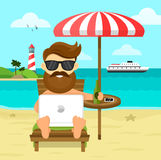 On The Beach Freelance Work & Rest Flat Illustration. Business Man Freelance Remote Working Place Businessman In Stock Photos