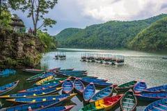 Free On The Beautiful Phewa Lake On A Quiet Evening Of April 11, 2018 Pokhara, Nepal. Royalty Free Stock Photo - 123947575