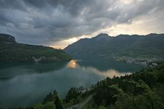 On The Evening Lake, Switzerland Stock Images