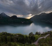 On The Evening Lake, Switzerland Royalty Free Stock Photography