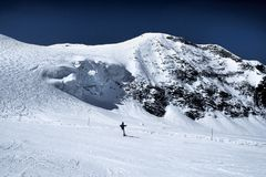 On The Ski-track In Alps Stock Photos
