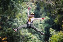 Free On Zip Line Or Canopy Experience In Laos Stock Photo - 168491350