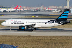 5A-ONA Afriqiyah Airways, Aerobus A320-214 Fotografia Royalty Free