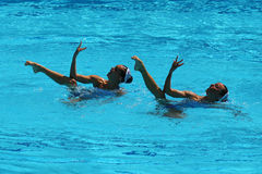 Ona Carbonell and Gemma Mengual of Spain compete during the synchronized swimming duet technical routine preliminary round Stock Photography