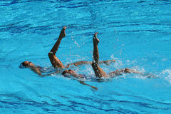 Ona Carbonell and Gemma Mengual of Spain compete during the synchronized swimming duet technical routine preliminary round Stock Photos