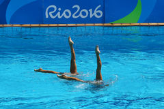 Ona Carbonell and Gemma Mengual of Spain compete during the synchronized swimming duet technical routine preliminary round Royalty Free Stock Images