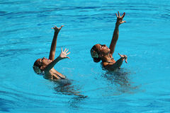 Ona Carbonell and Gemma Mengual of Spain compete during synchronized swimming duets free routine preliminary of the Rio 2016 Stock Image