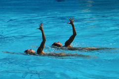 Ona Carbonell and Gemma Mengual of Spain compete during synchronized swimming duets free routine preliminary of the Rio 2016 Royalty Free Stock Photos