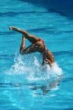Ona Carbonell och Gemma Mengual av Spanien konkurrerar under den synkroniseringsrutinmässiga förberedande åtgärden för simningdue Royaltyfria Bilder