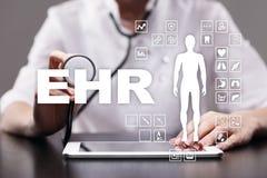 ONA, EMR, Elektroniczna dokumentacja medyczna medyczny i technologia pojęcie zdjęcie stock