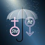 Ona i On Symbole mężczyzna i kobieta zakrywający z parasolem w deszczu na ciemnym tle ilustracja wektor