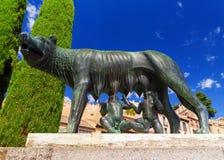 Ona wilk z rzymski akwedukt w Segovia i, Romolo i Remo Fotografia Stock