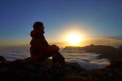 Ona świt w górach Fotografia Royalty Free