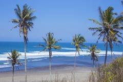 Onaangeroerd zandig strand Royalty-vrije Stock Foto's